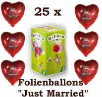 25x Folien Herzballons+Helium Just Married