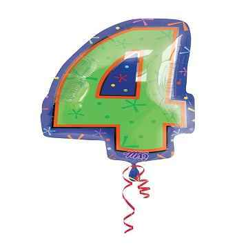 folienballon zahl 4 mit helium im shop. Black Bedroom Furniture Sets. Home Design Ideas